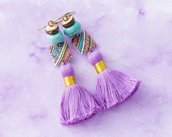 Boho Chic Vintage Tin Purple Tassel Earrings with Turquoise Colored Beads and Coconut Beads, Bohemian Jewelry