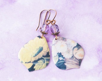 Vintage Flower Tin Teardrop Earrings with Antique Copper and Purple Faceted Beads, Vintage Tin Jewelry, Botanical Jewelry