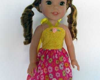 Handmade 14.5 inch doll clothes- Yellow and Pink floral Sundress made to fit 14.5 inch dolls such as Wellie Wishers