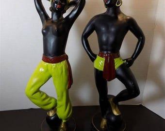 Vintage Rare Alexander Backer ABCO Chalkware Gennie Dancers Sculpture Figurine Oriental Blackamoor