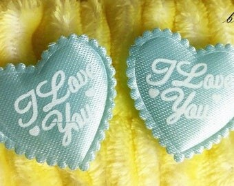 50 x Blue ' I Love You ' Padded Heart Appliques. 25mm x 30mm. Perfect for Art, Romance, Weddings, Scrapbooking, Cardmaking & Embellishments