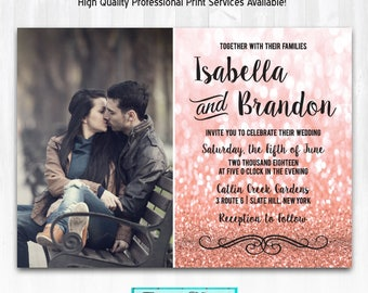 Rose Gold Glitter Wedding Invitations with Photo DIY PRINTABLE or Print (+) Rose Gold Glitter Invites Rose Gold Wedding Gold Black Wedding