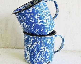 2- Blue and White Mugs- Swirl Granite Ware/Enamel Ware Mugs  Large 1 1/3 cup