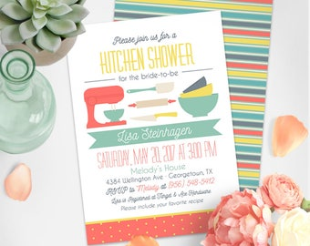 Stock the Kitchen Invitation | Kitchen Shower Invitation | Bridal Shower Printable Invitation | Retro Bridal Shower | WD012NW