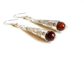 Silver Cone Earrings Brown Agate Silver Dangle Earrings Tibetan Silver Drop Earrings Boho Chic Earrings Bohemian Jewelry