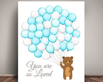 Woodland Bear Baby Shower Guest Book Alternative - Guests sign a balloon! 2018x