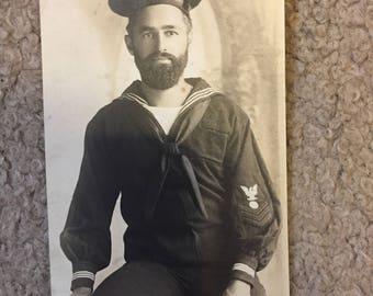 Vintage Postcard of Sailor on the USS Annapolis