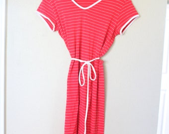 vintage red & white striped nautical capped sleeve jersey dress *