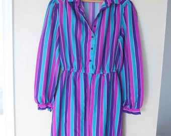 vintage pink purple and turquoise striped secretary dress