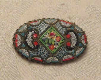 Vintage antique late Victorian early Art Deco era ornately detailed micro mosaic tile Italy floral oval shape pin brooch