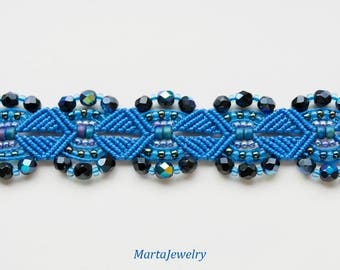 Blue macrame bracelet, beaded, micro-macrame, beadwork, beadwoven, bohemian, boho chic, gypsy queen, sea waves, knots, cuff, gift for her