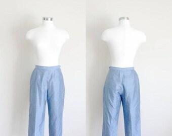 1990s High Waisted Capris | Blue Capris | Gingham Pants | Gingham Capris | Small