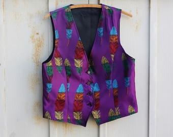 Vintage Purple Vest - Retro Abstract Vest - Rainbow Vest - Feather Vest - Colorful Waistcoat - Mardi Gras Insipred Vest - Hipster Vest