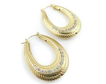 Vintage Hoop Earrings, Rhinestones, Hooks