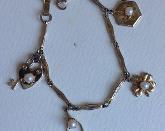Vintage Charm Bracelet - Lucky Charms - Four Leaf Clover - Wishbone -Heart - Gifts for Her - Mothers Day
