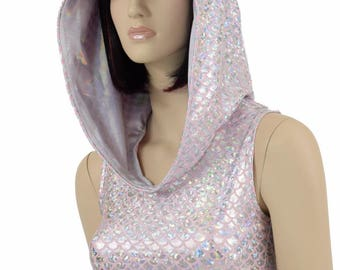 Pink & Silver Mermaid Scale Sleeveless Crop Hoodie w/Flashbulb Holographic Hood Liner Rave Festival Clubwear - 154746