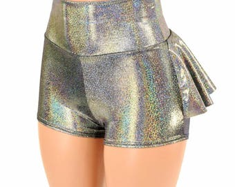 Silver Holographic High Waist Ruffle Rump Metallic Sparkly Spandex Booty Shorts - 154938
