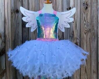 Unicorn costume, unicorn tutu, unicorn dress, rainbow unicorn dress, unicorn party, pegasus wings, pastel unicorn dress, unicorn birthday