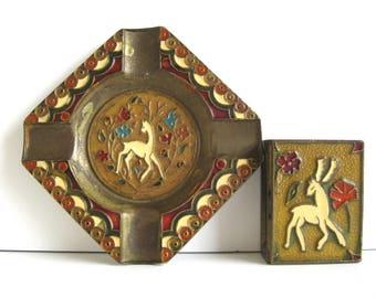 GH Brass and Enamel Ashtray & Match Box Holder Made In Greece