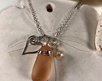 Sea Glass Necklace|Seaglass Necklace|Sea Glass Jewelry|Seaglass Jewelry|Pink Sea Glass Necklace|Valentine''s Gift|Gift for Her|Coastal Chic