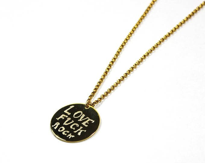 Necklace with a medal engraved LOVE FUCK ROCK