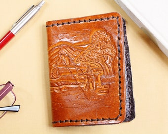 Fisherman Wallet Hand Carved Leather Wallet Fishing Gift For Dad Bifold Wallet 3rd Anniversary Billfold Wallet Gift Husband Gift Father Gift