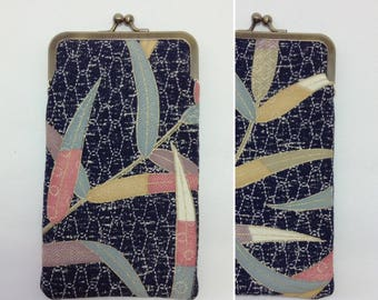 Navy leaves Eye glass case/ Smartphone case /Sun glass case / Hand-made/49