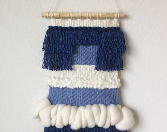 Weaved Wall Hanging | Big Blue with Natural White Merino Wool
