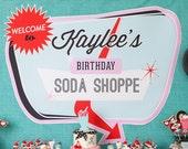"Retro Soda Shoppe 50s Diner - Printable Customized 56""x40"" Poster"