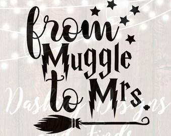DIGITAL DOWNLOAD svg png from muggle to mrs harry potter shirt harry potter svg bachelorette bride wedding engagement silhouette cricut