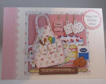 3D, Decoupage Baking Birthday Card,Personalise, Handmade