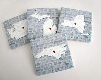 Personalized State Stone Coasters, Absorbent Drink Coasters - Long Distance Best Friends, Family or Housewarming Gifts - Boho Home Decor