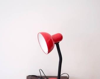 Vintage 70s 80s Red Gooseneck Desk Lamp Vrieland Bauhaus Style