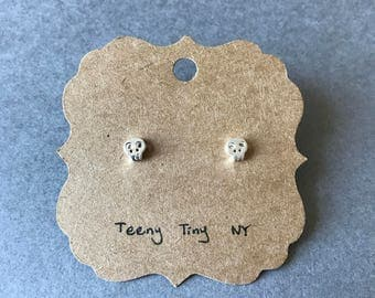 Silver Tiny Mini Skull Stud Earrings - Sterling Silver [SE1025]