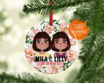 Twins ornament, sisters Christmas ornament, twin girls gift, personalized gift, sister portrait