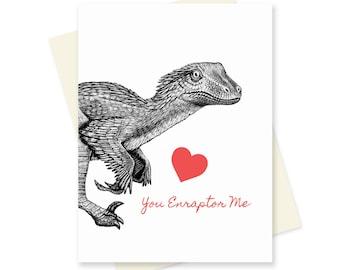 Dinosaur Valentine Card. Velociraptor Valentines Day Card. Nerdy Romantic Card. Raptor Science Valentine. Geeky Anniversary Card. For Him.
