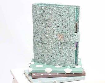 mint stingray a5 planner binder, turquoise planner, mint a5 planner, a5 filofax binder, a5 leather planner, 6 ring planner