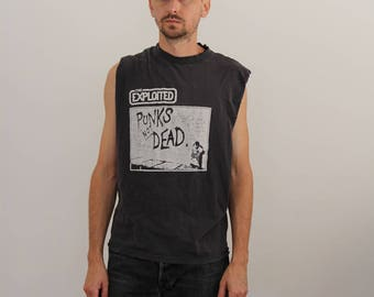 The Exploited Punk Distressed SLeeveless SHirt Small