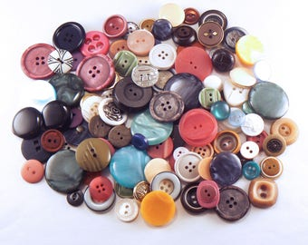 50 Random Sewing Button Mix - Crafting Buttons - Sewing Button Mix - Bulk Button Lot - Vintage Button Mix - Assorted Sewing Buttons