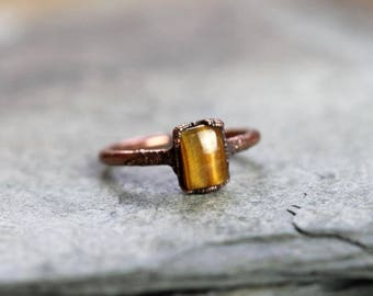 Tiger Eye Ring Small Stone Ring Electroformed Ring Simple Stone Ring Electroformed Copper Rectangle Stone