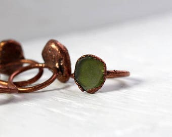 Seaglass Ring Electroformed Copper Ring Glass Ring Sea Glass Jewelry Beach Glass Jewelry Delicate Ring Moss Green