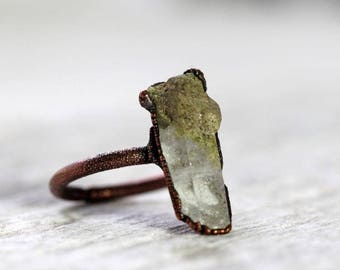 Raw Crystal Ring Size 6 Epidote in Quartz Crystal Speciman Collector Stone Ring Green Crystal Ring