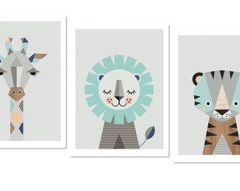 "Giraffe, Lion and Tiger Prints, A3 or 11x14""size,Aqua and Navy. Nursery prints, safari nursery, kids art, nursery wall art, kidsroom art."