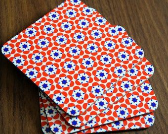 Set of 4 Gorgeous Red and Blue 'Delyth' Print Coasters
