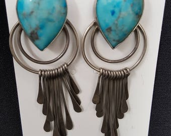 Sterling Silver Dangle Earrings with Turquoise Stone