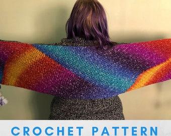 Diagonal Rainbow Wrap Crochet Pattern PDF, V-Stitch Scarf, Photo Tutorial, Rainbow Shawl, Rainbow Scarf, Self Striping Yarn, Shawl in a ball