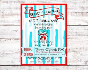 Thing One and Thing Two Twin First Birthday Invitation, Dr. Seuss Party, Twin Birthday Party, Boy Girl Twin Party, First Birthday Party