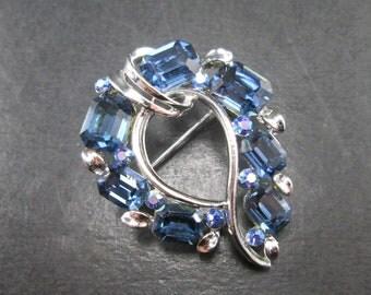 Vintage Lisner Aurora Borealis & Blue Rhinestone Silver Tn Curved Brooch Pin Signed 60s