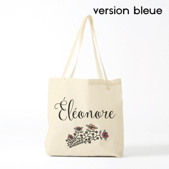 Canvas bag, flowers, Custom name, tote bag, computer bag, handbag, pugh, clutch, groceries bag, gift coworker.