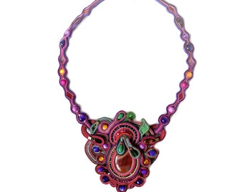 Soutache necklace - Soutache jewelry - Chunky necklace - Big bold jewelry - Big necklace - Statement necklace